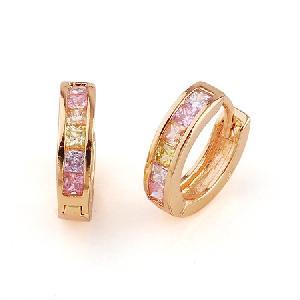 18k gold plating brass cubic zirconia hoop earrings pendant titanium plated bracelet ring