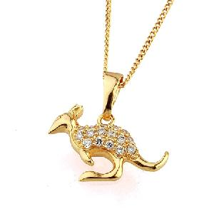 18k gold plating brass cubic zirconia kangaroo pendant pearl necklace cz fashion jewelry