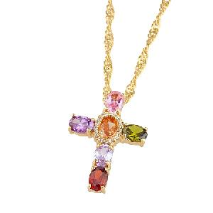 18k gold plating brass cubic zirconia pendant costume jewelry bracelet cz ring