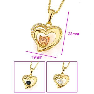 18k gold plating brass cubic zirconia pendant costume jewelry titanium bracelet ring