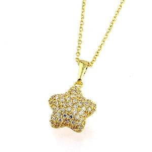 18k gold plating brass cubic zirconia pendant fashion earring necklace sterling silver jewel