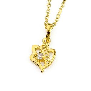 18k gold plating brass cubic zirconia pendant silver jewelry pearl necklace