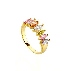 18k gold plating brass cubic zirconia ring fashion silver jewlery precious stone
