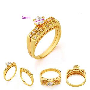 18k gold plating brass cubic zirconia ring rhinestone
