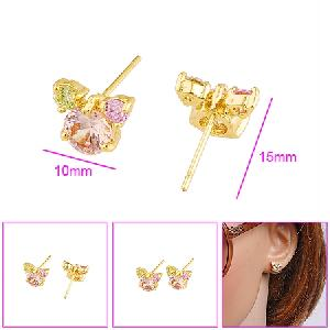 18k gold plating brass cubic zirconia stud earring prehnite 925 silver jewelr