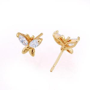 18k gold plating brass cubic zirconia stud earrings fashion cz jewelry costume ring