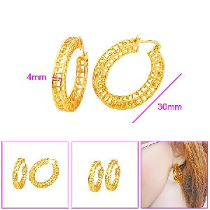 18k gold plating brass hoop earring costume jewelry silver gemstone pendant
