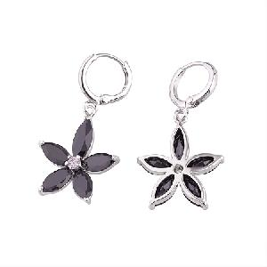 rhodium plated brass cubic zirconia drop earring stone jewelry pearl necklace bracelet