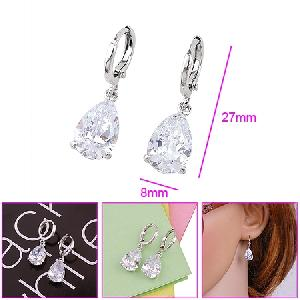 rhodium plated brass cubic zirconia drop earring rhinestone ring costume fashion jewelry