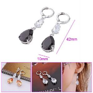 rhodium plated brass cubic zirconia drop earrings cz bracelet fashion pendant silver ring