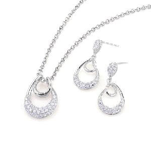 rhodium plated brass cubic zirconia earring pendant jewelry cz fashion