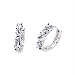 rhodium plated brass cubic zirconia hoop earring costume jewelry ring bracelet pendant