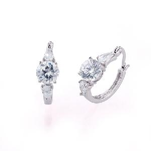 rhodium plated brass cubic zirconia hoop earring fashion precious stone jewelry