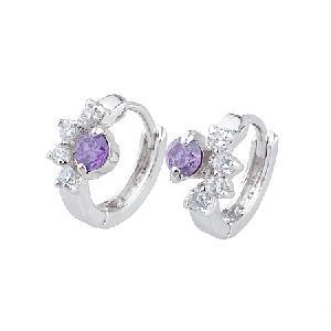 rhodium plated brass cubic zirconia hoop earrings cz fashion jewelry rhinestone