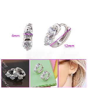 rhodium plated brass cubic zirconia hoop earrings cz stup earring bracelet ring