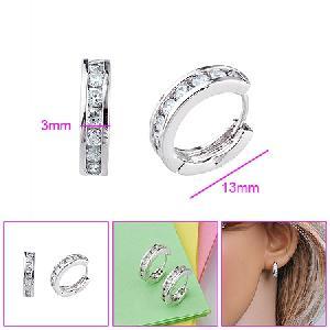 rhodium plated brass cubic zirconia hoop earrings gem stone jewelry sterling silver