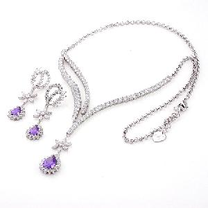 rhodium plated brass cubic zirconia jewelry earring necklace stone