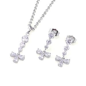 rhodium plated brass cubic zirconia jewelry stone ring earring