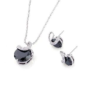 rhodium plated brass cubic zirconia jewelry ring earring necklace costume