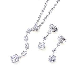 rhodium plated brass cubic zirconia jewelry titanium plsted precious stone