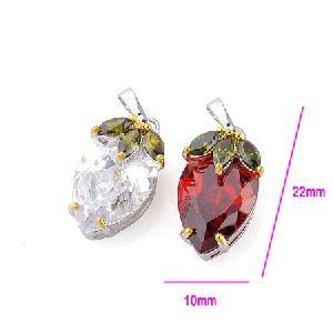 rhodium plated brass cubic zirconia pendant costume jewelry precious stone ring bracele