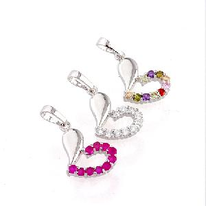 rhodium plated brass cubic zirconia pendant rhinestone fashion jewelr