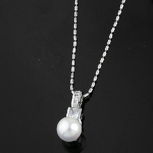 rhodium plated brass cubic zirconia pendant precious stone pearl