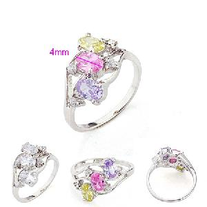 rhodium plated brass cubic zirconia ring fashion silver jewelry costume pendant cz earring