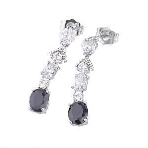 rhodium plated brass cubic zirconia stud earring precious stone ring costume jewelry