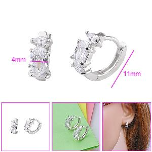 precious stone rhodium plated brass cubic zirconia hoop earring fashion cz jewelry