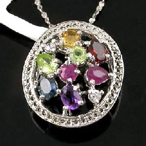 sterling silver mix gem pendant amethyst bracelet garnet citrine ring prehnite