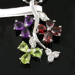 sterling silver mix gem pendant tourmaline agate bracelet olivine amethyst ring