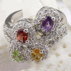 sterling silver mix gem ring citrine earring ruby bracelet prehnite pendant