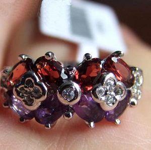 sterling silver mix garnet amethyst ring jadeite prehnite bracelet