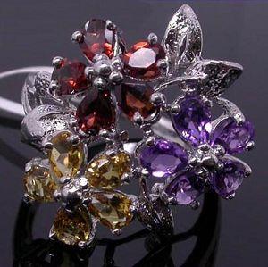 sterling silver amethyst citrine garnet ring sapphire earring olivine bracelet