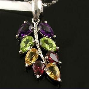 Sell Sterling Silver Natural Amethyst, Olivine And Garnet Pendant, Rainbow Stone Ring