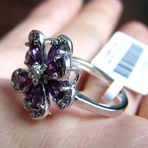 sterling silver amethyst ring gemstone earring prehnite sapphire necklace