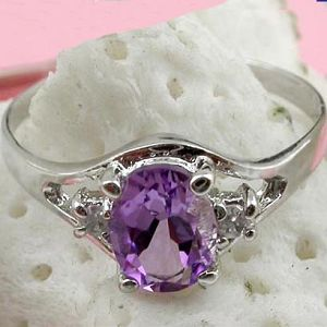 sterling silver amethyst ring pendant gemstone jewlery fashion cz jewelry