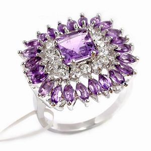 sterling silver amethyst ring jewlery earring gemstone jewelry fashion cz ri