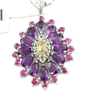 sterling silver amethyst ruby olivine stone pendant