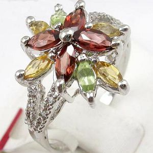 sterling silver garnet citrine mix gem ring smoky quartz stud earring