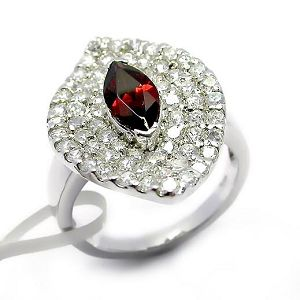 sterling silver garnet ring fashion cz earring gemstone jewelry bracelet