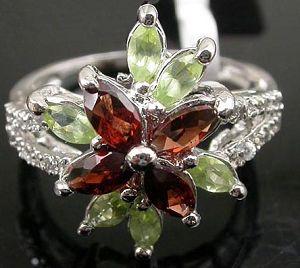 sterling silver garnet ring prehnite jadeite pendant tourmaline earring