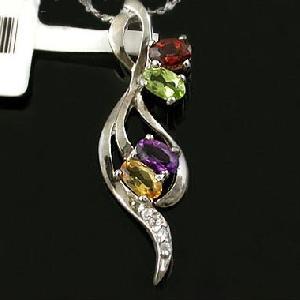 sterling silver mix gem pendant blue topaz olivine sapphire ring earring jewelry