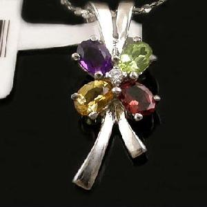 sterling silver mix gem pendant citrine ring sapphire earring tourmaline bracelet