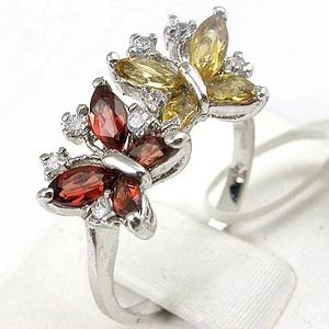 sterling silver mix gem ring earring fashion jewelry tourmaline pendant