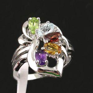 sterling silver mix gem ring gemstone samples