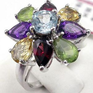 sterling silver mix gemstone ring moonstone pendant prehnite bracelet jewel