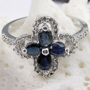 sterling silver sapphire ring smoky quartz earring garnet pendant prehnite