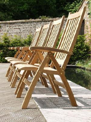 curve dorset reclining chair five position folding teak garden outdoor furniture